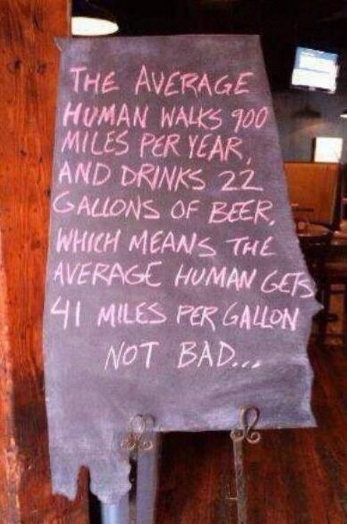 The average human being gets 41 MPG ...