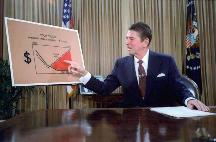 President Ronald Reagan discussing his plans for tax cuts in July of 1981.