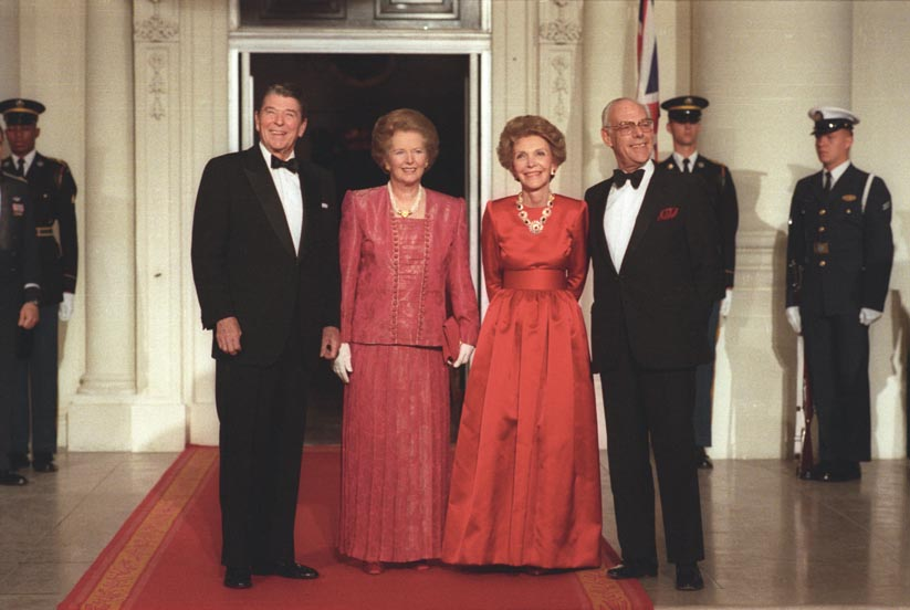 President Reagan and Prime Minister Margaret Thatcher, accompanied by their respective spouses, at a State Dinner in 1988.